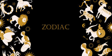 The signs of the zodiac, cosmic, esoteric symbols on a black background. Golden zodiac sign elements on a black background. Vector illustration. Çizim