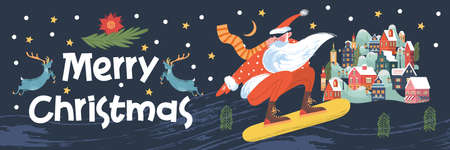 Merry Christmas. Santa Claus is flying snowboard over a small town. Vector illustration, greeting card.