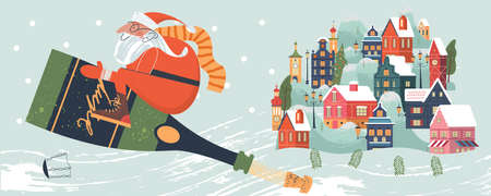 Merry Christmas. Santa Claus is flying a bottle of champagne over a small town. Vector illustration, greeting card.