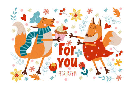 Happy Valentine's day. Vector cute greeting card with foxes in love. The Fox made a delicious cake Valentine's day care for his beloved friend.