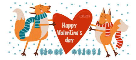Happy Valentine's day. Vector cute greeting card with foxes in love. Foxes have a big red heart.