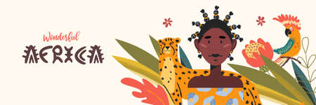 Beautiful African woman with traditional hairstyle, parrot and cheetah. Vector illustration about the love of wonderful Africa.