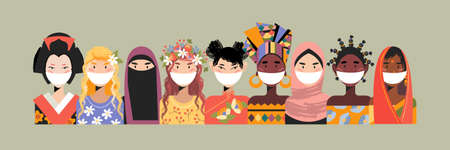 Women from all over the world. Beautiful women in traditional outfits and medical masks. Vector illustration about diversity and beauty.