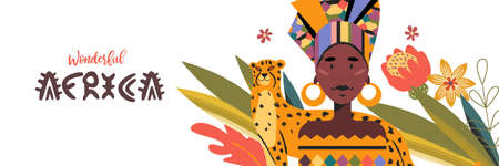 Beautiful African woman in colorful traditional turban and cheetah. Vector illustration about the love of wonderful Africa.