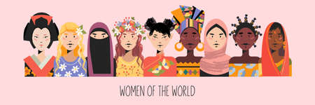 Women from all over the world. Beautiful women in traditional outfits. Vector illustration about the diversity and beauty of women.
