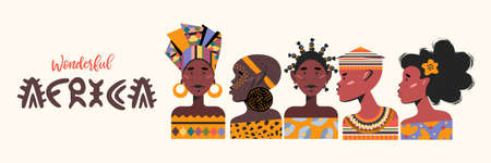 Wonderful Africa. Colorful vector illustration on a white background. African men and women in traditional clothing.