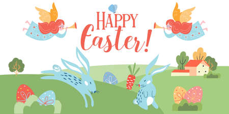 Happy Easter. Vector illustration. Lovely rustic landscape. Rabbits and painted eggs hidden in the grass.