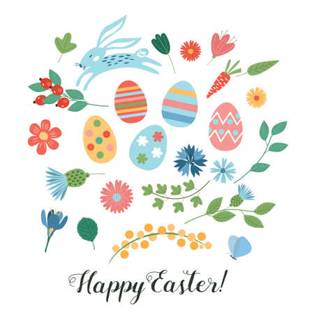 Happy Easter. Vector set of cute illustration. Painted eggs, rabbits, flowers. Design elements for card, poster, flyer and other use. Isolated on a white background. Çizim