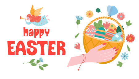 Happy Easter. Wicker basket with Easter colored eggs. Vector illustration on a white background. Çizim
