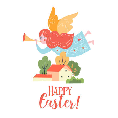 Happy Easter. Vector Easter greeting card, illustration. A cute trumpeting angel flies over the house.