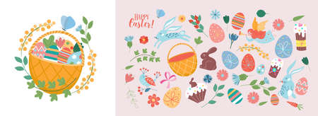 Happy Easter. Vector set of cute illustration. Painted eggs, rabbits, flowers, a basket, a chocolate hare, cakes. Design elements for card, poster, flyer and other use. Isolated on a light background.