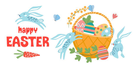 Happy Easter. Wicker basket with Easter colored eggs. Cute funny rabbits. Vector illustration on a white background.