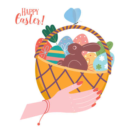 Happy Easter. Wicker basket with Easter colored eggs. Vector illustration on a white background. Illusztráció