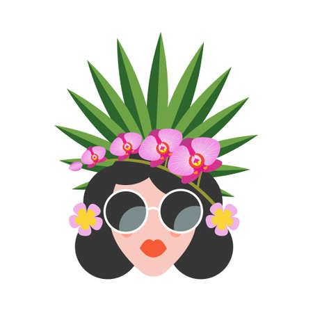 Hello summer. Bright summer colorful illustration. A beautiful girl in sunglasses with a hairstyle decorated with exotic flowers and tropical fruits. Illusztráció