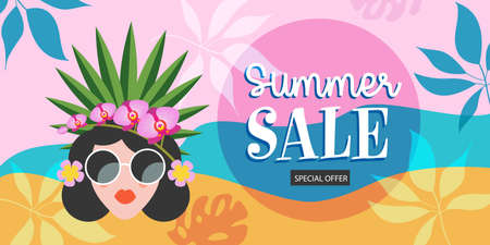 Summer sale. A bright colorful poster for a seasonal sale. A beautiful girl with a hairstyle decorated with exotic flowers.