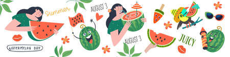 Watermelon Day. Cute girls with watermelon slices and watermelon cocktail.A festive horizontal banner, a set of vector cliparts. Funny funny watermelons, tropical leaves and toucan with a slice of watermelon. Illusztráció