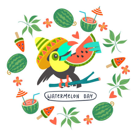 Festive poster, vector postcard for the National Watermelon Day. A cheerful toucan with a juicy slice of watermelon. Around the toucan is a frame of watermelons, tropical leaves, flowers and watermelon cocktail