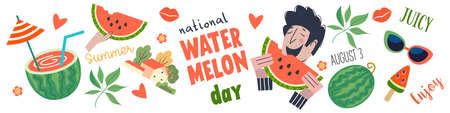Watermelon Day. A cheerful guy eats a watermelon. A festive horizontal banner, a set of vector cliparts. Watermelons, watermelon slices, watermelon cocktails and tropical leaves. Illusztráció