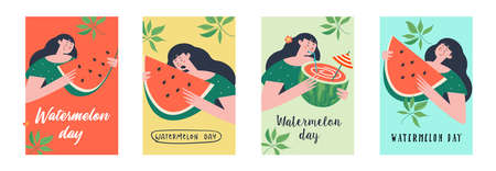 Watermelon Day. A set of vector festive colorful posters. Cute girls with watermelon slices and watermelon cocktail. Illusztráció