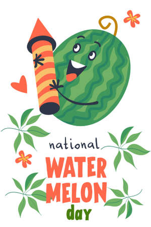 Watermelon Day. Colorful vector poster. A cheerful green watermelon with a firecracker.