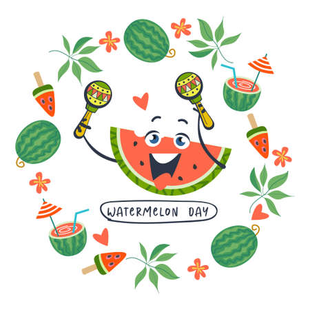 Festive poster, vector postcard for the National Watermelon Day. A cheerful slice of watermelon with maracas. Around the watermelon slice is a frame of watermelons, tropical leaves, flowers and watermelon cocktails.