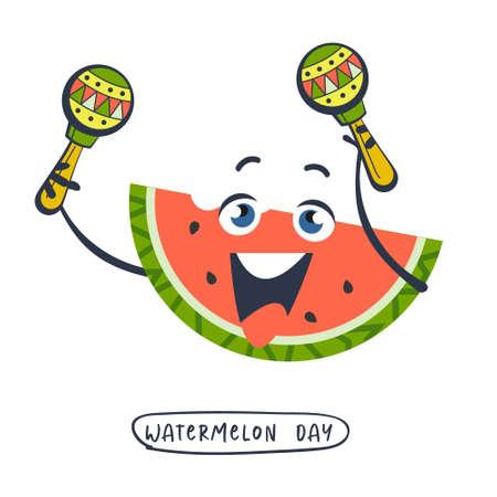 Festive poster, vector postcard for the National Watermelon Day. A cheerful slice of watermelon with maracas. Illusztráció