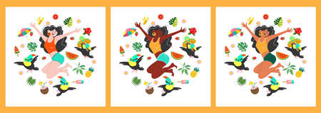 It's summer time. Funny girls happily jump among exotic fruits and leaves. Vector illustration on a white background. Illusztráció
