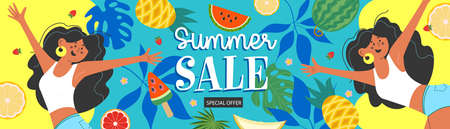 Summer sale. Horizontal vector banner. Joyful beautiful girls tanned blunetki jump and have fun among the exotic fruits and foliage.
