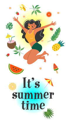 It's summer time. A cheerful tanned girl happily jumps among exotic fruits and leaves. Vector illustration on a white background. Illusztráció