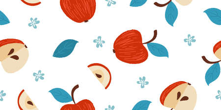 Seamless pattern with fruits. Red apples. On a white background. For printing on fabric, paper. Cute rustic pattern.
