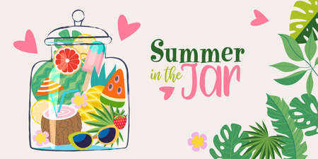 Cute vector poster with a summer mood. Summer in a jar to keep the memories of summer and summer vacation. A jar with cocktails, ice cream, watermelon, tropical foliage, oranges, pineapple and sunglasses.