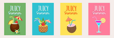 A set of bright summer posters. Juicy summer. A collection of tropical cocktails. Coconut cocktail on a green background, pineapple cocktail on a blue background, coconut cocktail on a yellow background, multi-colored cocktail in a glass glass on a pink background.