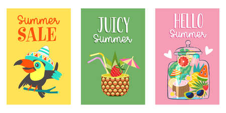 A set of bright summer posters. A collection of illustrations with a colorful summer mood. Summer sale with a cheerful toucan on a yellow background, juicy summer with a pineapple cocktail on a green background, hello summer with summer in a jar on a pink background.