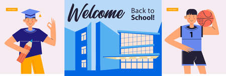 Welcome back to school. Colorful welcome banner. A guy in a square academic cap and a guy with a basketball ball against the background of the school building. Vector illustration.
