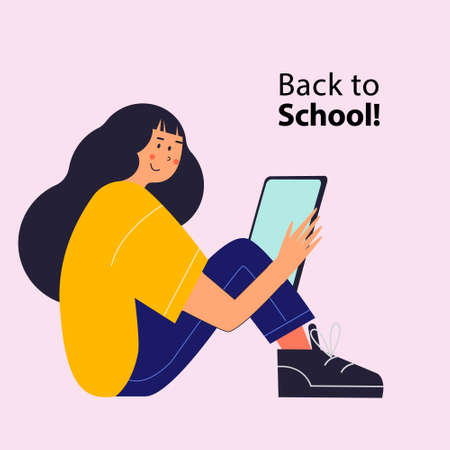 Back to school. A brunette girl in a yellow T-shirt and blue trousers and black sneakers is holding a tablet. Vector illustration. Illusztráció