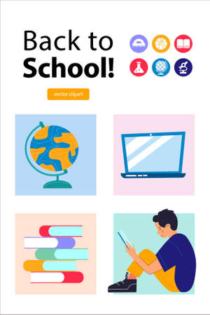 Back to school. The poster template. A set of vector cliparts. A guy is reading a book, a stack of books, a globe and a laptop. Vector illustration. Illusztráció