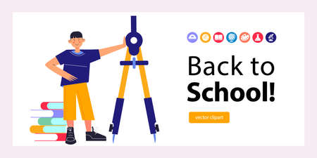 Back to school. Template for a banner or landing page. The guy is standing next to a huge compass. Vector illustration. Illusztráció