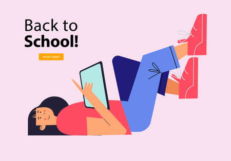 Back to school. A brunette girl in a pink T-shirt and blue trousers and pink sneakers is lying down reading a tablet. Vector illustration.