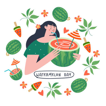 A festive poster, a postcard for the National Watermelon Day. A pretty girl is holding a juicy watermelon cocktail in her hands. Around the girl is a frame of watermelons, tropical leaves, flowers and watermelon cocktails.