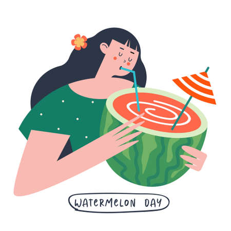 Festive poster, vector postcard for the National Watermelon Day. A pretty girl is holding a juicy watermelon cocktail in her hands.