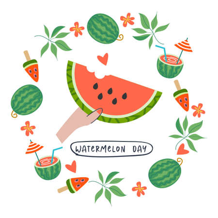 Festive poster, vector postcard for the National Watermelon Day. A juicy slice of watermelon in your hand. Around the watermelon slice is a frame of watermelons, tropical leaves, flowers and watermelon cocktails. Illusztráció
