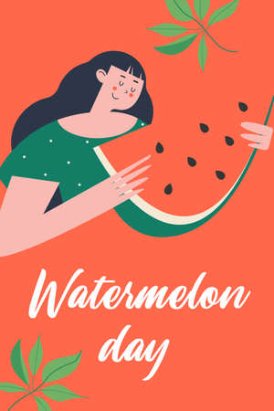 Watermelon Day. Colorful vector poster. A pretty girl is holding a slice of juicy watermelon in her hands. On a red background. Illusztráció