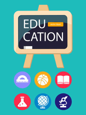 Education, school, college. A set of cliparts, school accessories for design. Template for an abstract poster about education.