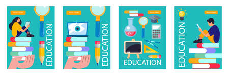 Education, school, college. A set of posters on the topic of education. A large set of cliparts, school supplies for design. A horizontal banner. Illusztráció