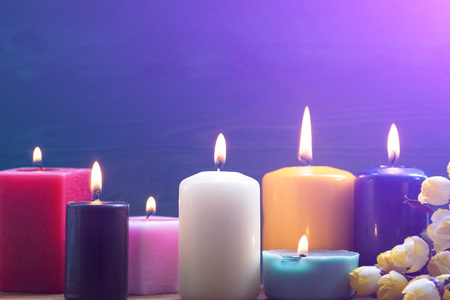 Colorful candles. Aromatherapy. Interior