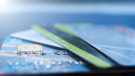 Minsk, Belarus, August052017: Credit card, plastic cards, discount cards. Wallet, purse.