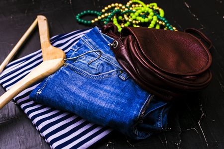 Womens clothing on a dark background Stock Photo
