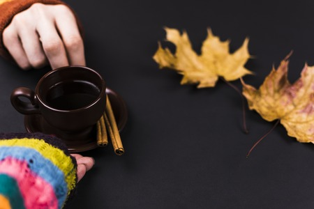 The man gives the girl the tea. Close-up Stock Photo