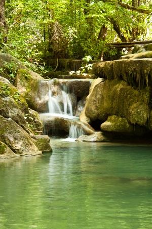 the waterfall is named Erawan, Kanchanaburi Standard-Bild