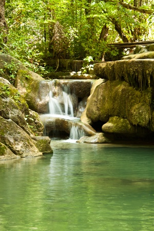 the waterfall is named Erawan, Kanchanaburi Banco de Imagens